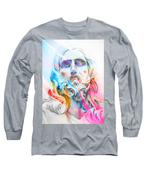 Long Sleeve T-Shirt featuring the painting Abstract Jesus 5 by J- J- Espinoza