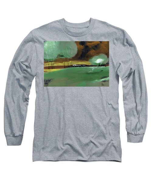 Long Sleeve T-Shirt featuring the painting Abstract Landscape by Anil Nene