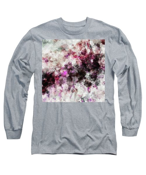 Abstract Landscape Painting In Purple And Pink Tones Long Sleeve T-Shirt by Ayse Deniz
