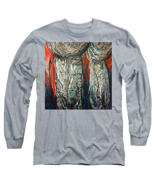 Abstract Red And Silver Latte Stones Long Sleeve T-Shirt