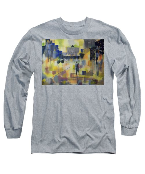 Long Sleeve T-Shirt featuring the painting Abstract Stroll by Raymond Doward