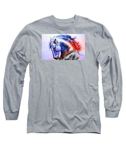 Long Sleeve T-Shirt featuring the painting Abstract White Horse 44 by J- J- Espinoza