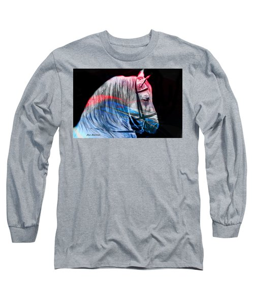Long Sleeve T-Shirt featuring the painting Abstract White Horse 53 by J- J- Espinoza