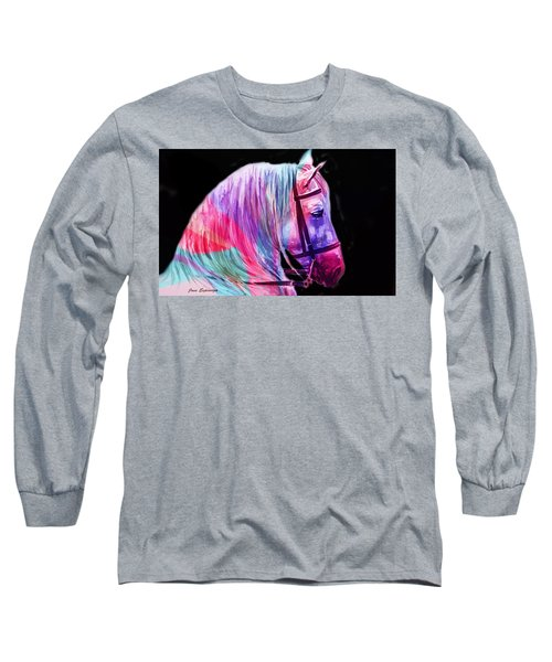 Long Sleeve T-Shirt featuring the painting Abstract White Horse 55 by J- J- Espinoza