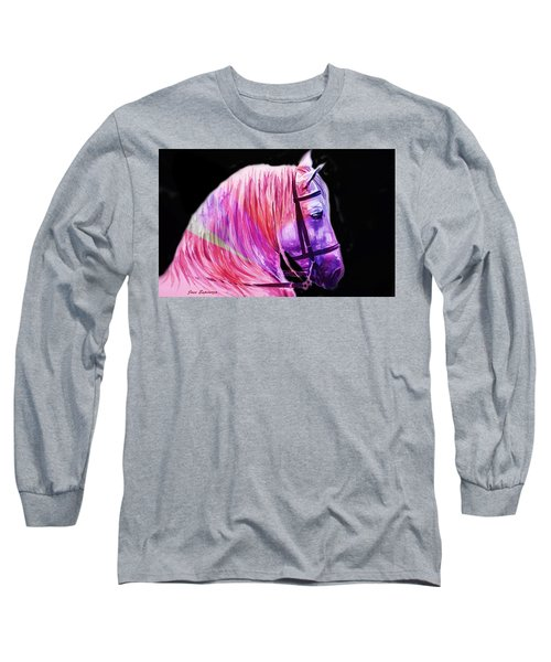 Long Sleeve T-Shirt featuring the painting Abstract White Horse 56 by J- J- Espinoza