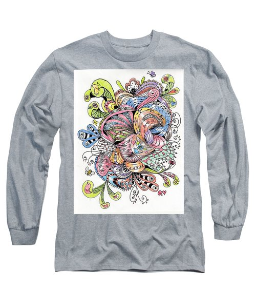 Abstract2colored Long Sleeve T-Shirt by Quwatha Valentine