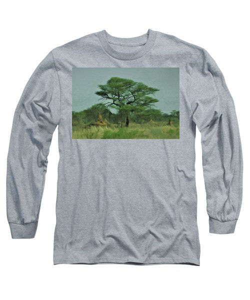 Long Sleeve T-Shirt featuring the digital art Acacia Tree And Termite Hills by Ernie Echols