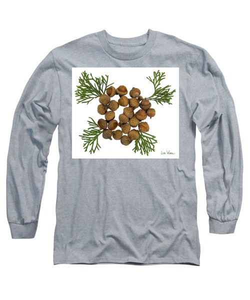 Long Sleeve T-Shirt featuring the digital art Acorns With Cedar by Lise Winne