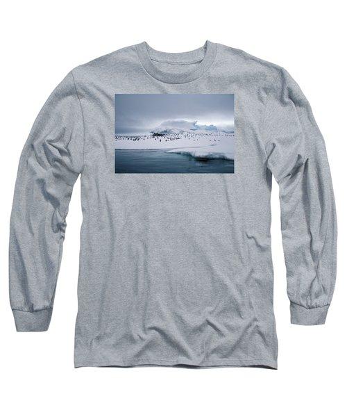 Adelie Penguins On Iceberg Weddell Sea Long Sleeve T-Shirt by Brian Lockett