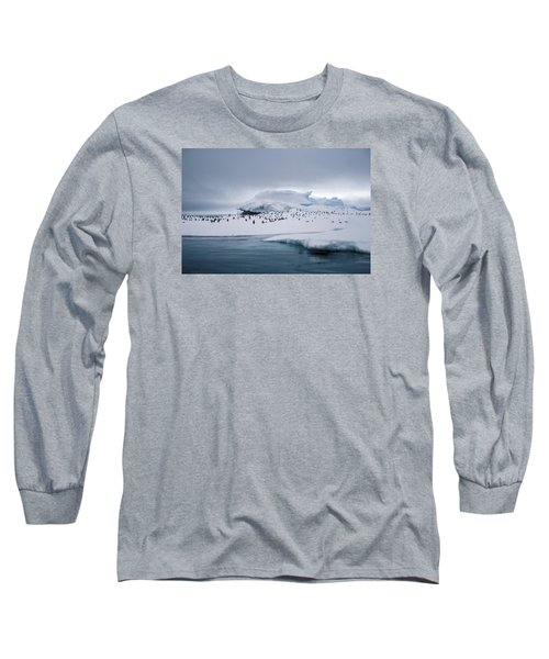 Adelie Penguins On Iceberg Weddell Sea Long Sleeve T-Shirt