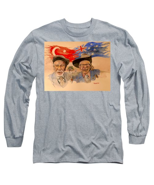 Long Sleeve T-Shirt featuring the painting Adil Sahin And Len Hall by Ray Agius