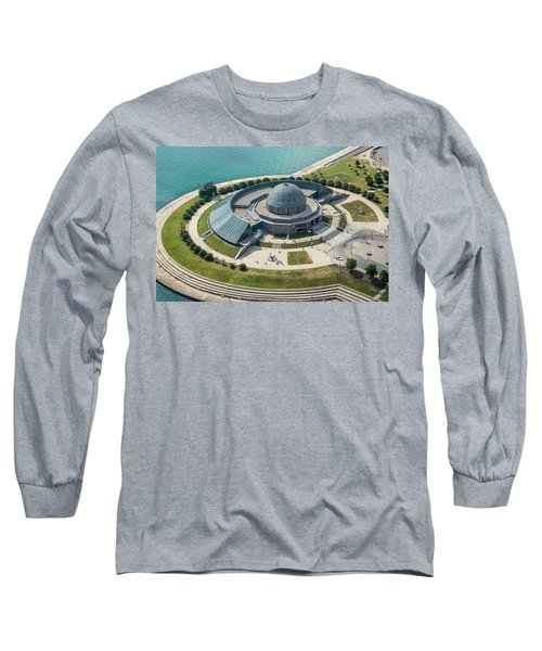 Long Sleeve T-Shirt featuring the photograph Adler Planetarium Aerial by Adam Romanowicz