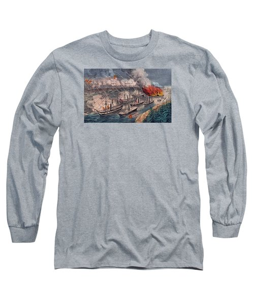 Admiral Farragut's Fleet Engaging The Rebel Batteries At Port Hudson Long Sleeve T-Shirt