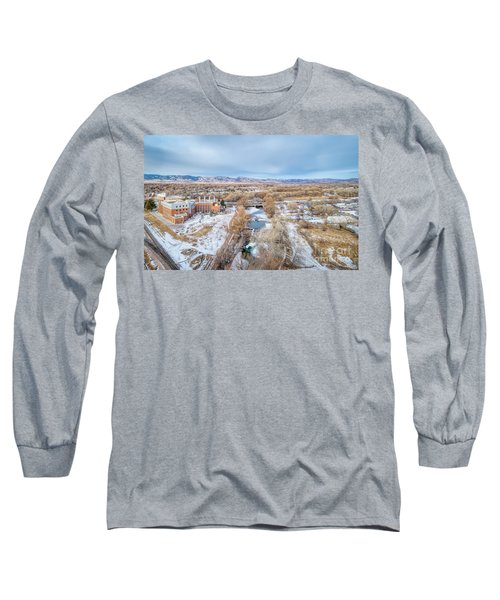 aerial cityscape of Fort Collins Long Sleeve T-Shirt