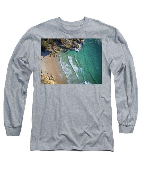 Aerial Shot Of Honeymoon Bay On Moreton Island Long Sleeve T-Shirt