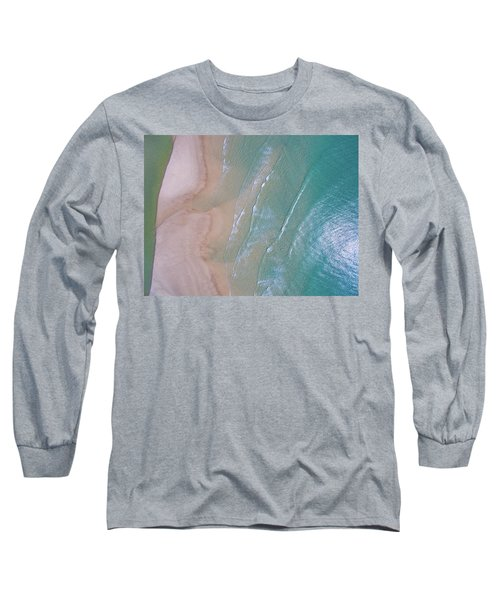 Aerial View Of Beach And Wave Patterns Long Sleeve T-Shirt