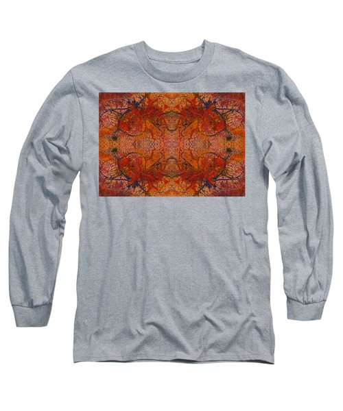 Aflame With Flower Quad Hotwaxed Version Of Acrylic/watercolour Long Sleeve T-Shirt