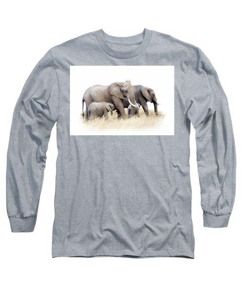 African Elephant Group Isolated Long Sleeve T-Shirt