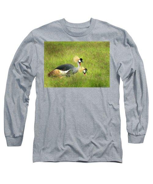 African Gray Crown Crane Long Sleeve T-Shirt