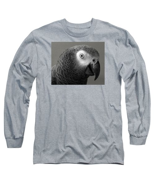 African Gray Long Sleeve T-Shirt by Sandi OReilly