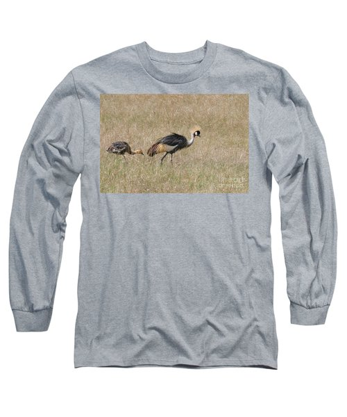 African Grey Crown Crane Long Sleeve T-Shirt