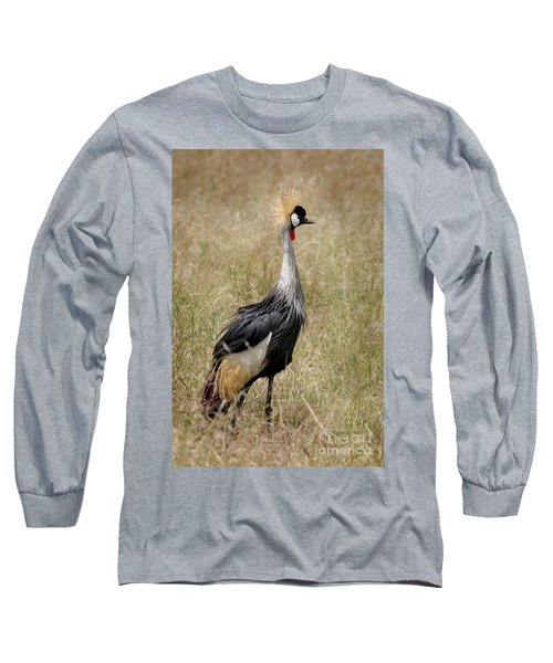 African Grey Crowned Crane Long Sleeve T-Shirt