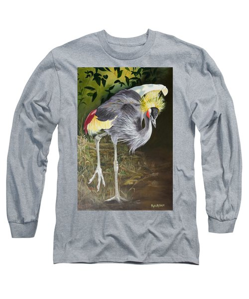 African Grey-crowned Crane Long Sleeve T-Shirt by Phyllis Beiser