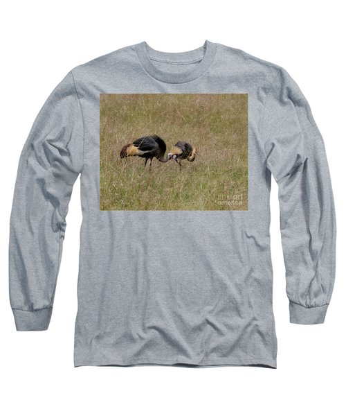 African Grey Crowned  Crane With Chick Long Sleeve T-Shirt