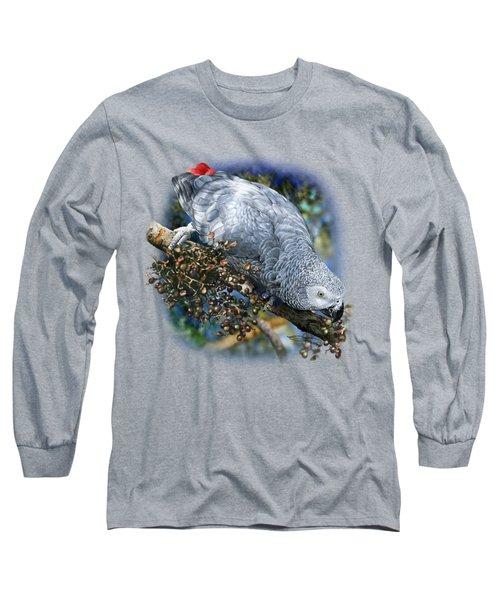 African Grey Parrot A1 Long Sleeve T-Shirt by Owen Bell