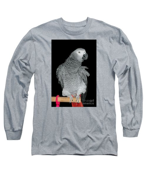 African Grey Parrot Long Sleeve T-Shirt by Debbie Stahre