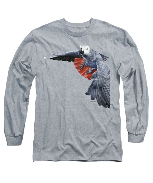 African Grey Parrot Flying Long Sleeve T-Shirt