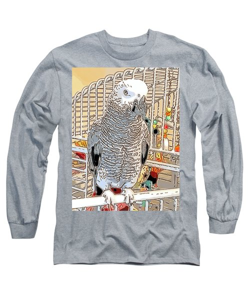 African Grey Parrot In Pencil Long Sleeve T-Shirt