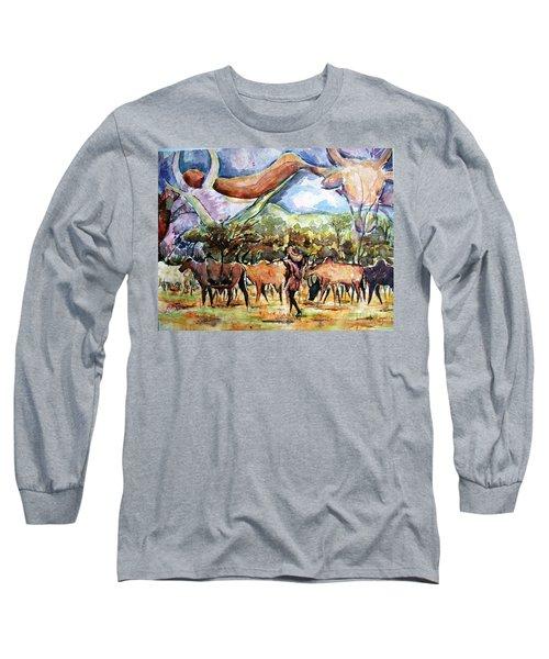 African Herdsmen Long Sleeve T-Shirt by Bankole Abe