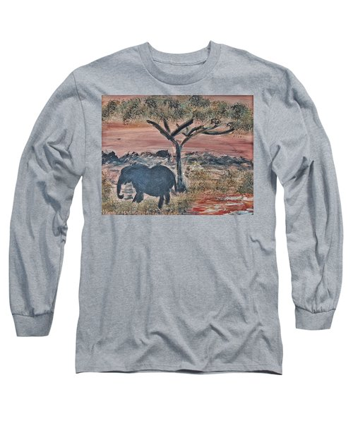 Long Sleeve T-Shirt featuring the painting African Landscape With Elephant And Banya Tree At Watering Hole With Mountain And Sunset Grasses Shr by MendyZ