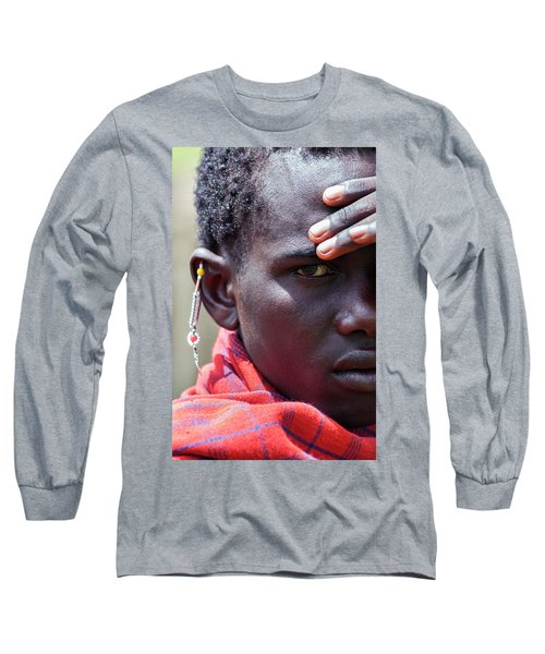 African Maasai Warrior Long Sleeve T-Shirt by Amyn Nasser