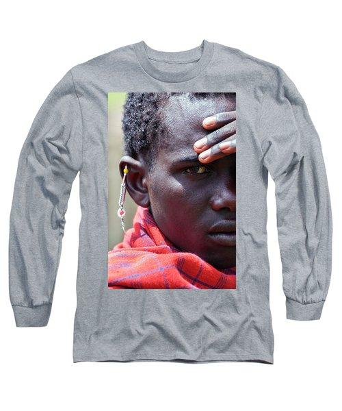 African Maasai Warrior Long Sleeve T-Shirt