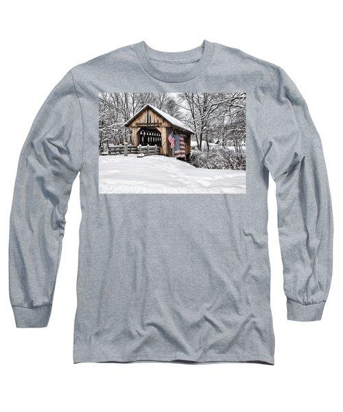 After A Winter Snow Storm Cilleyville Covered Bridge  Long Sleeve T-Shirt