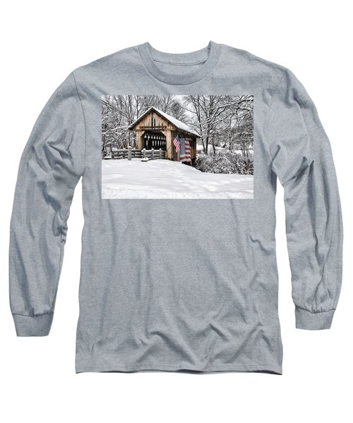 After A Winter Snow Storm Cilleyville Covered Bridge  Long Sleeve T-Shirt