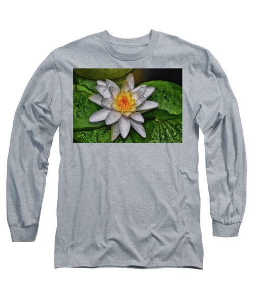 Long Sleeve T-Shirt featuring the photograph After The Rain - Water Lily 003 by George Bostian