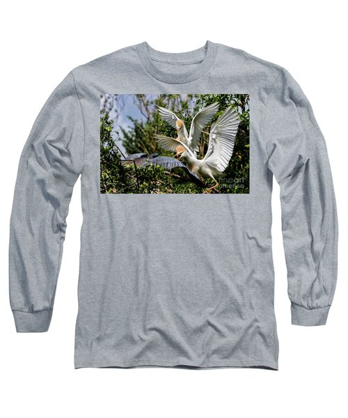 Aggression Between Cattle Egrets And Tricolored Heron Long Sleeve T-Shirt