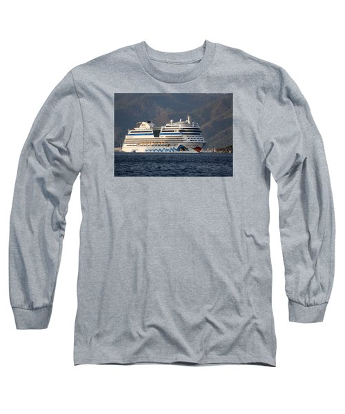 Aida Stella Cruise Ship Leaving Marmaris Long Sleeve T-Shirt