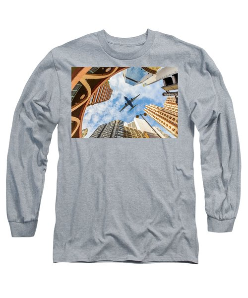 Airplane Above City Long Sleeve T-Shirt