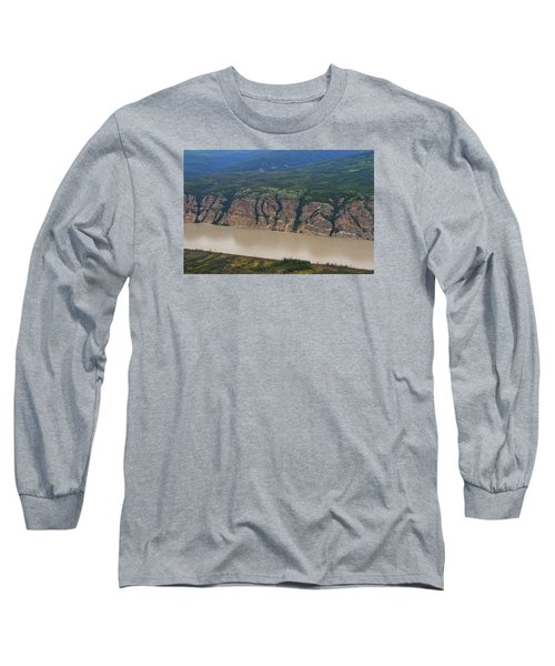 Airplane Flying Over The Yukon River Long Sleeve T-Shirt