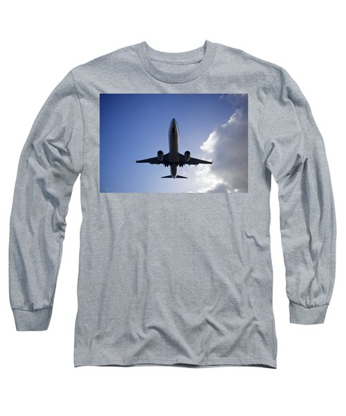 Airplane Landing Long Sleeve T-Shirt by Teemu Tretjakov