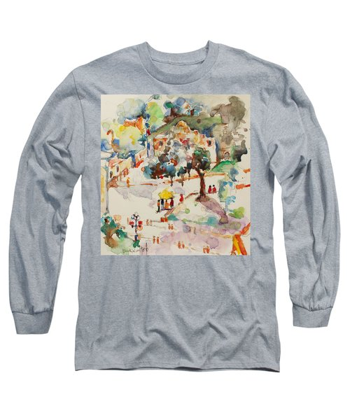Alamo From Hotel Window Long Sleeve T-Shirt by Becky Kim