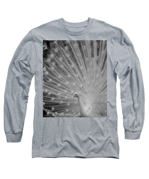 Albino Peacock In Black And White Long Sleeve T-Shirt