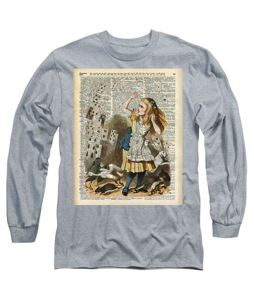 Alice In The Wonderland On A Vintage Dictionary Book Page Long Sleeve T-Shirt