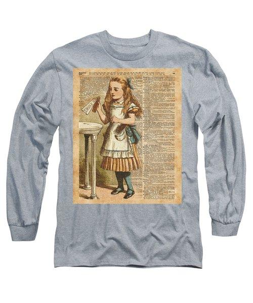 Alice In Wonderland Drink Me Vintage Dictionary Art Illustration Long Sleeve T-Shirt