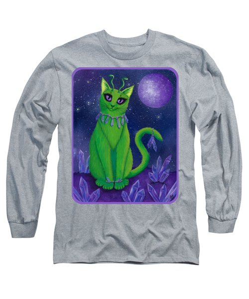 Long Sleeve T-Shirt featuring the painting Alien Cat by Carrie Hawks
