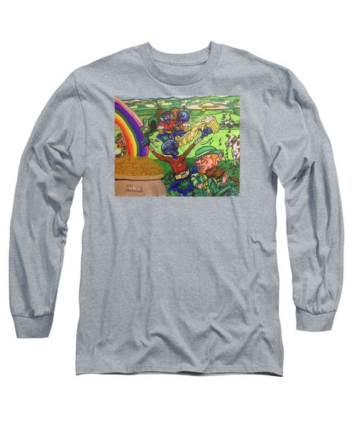 Long Sleeve T-Shirt featuring the painting Alien Go Bragh by Similar Alien